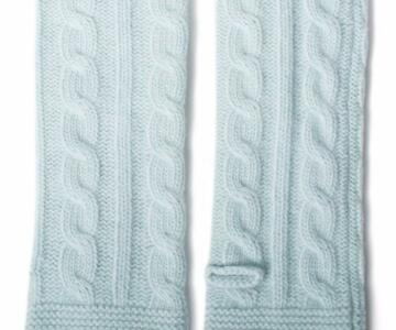PORTOLANO Ladies Cable Arm Warmer - LIGHT BLUE