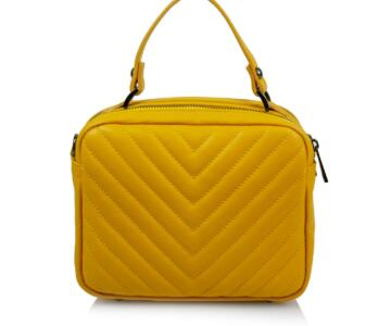 JULIENT Brio Genuine Padded Leather Bag - YELLOW