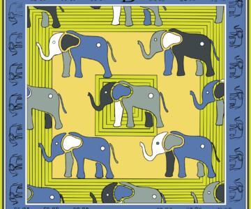 RUGGIERO BIGNARDI Twill Silk Scarf 100% Elephant Design Artistic - BLUE