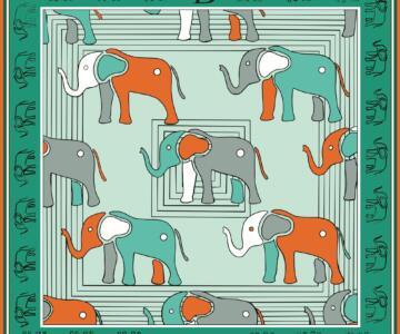 RUGGIERO BIGNARDI Twill Silk Scarf 100% Elephant Design Artistic - GREEN